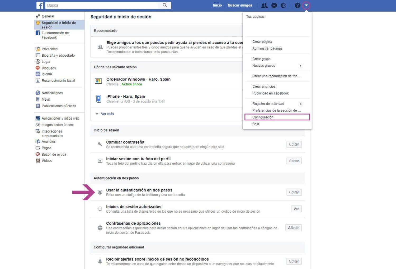 Accede a los ajustes de seguridad de Facebook desde la versión escritorio de la web.