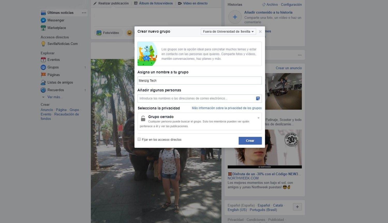 Así se crea un grupo privado de Facebook.