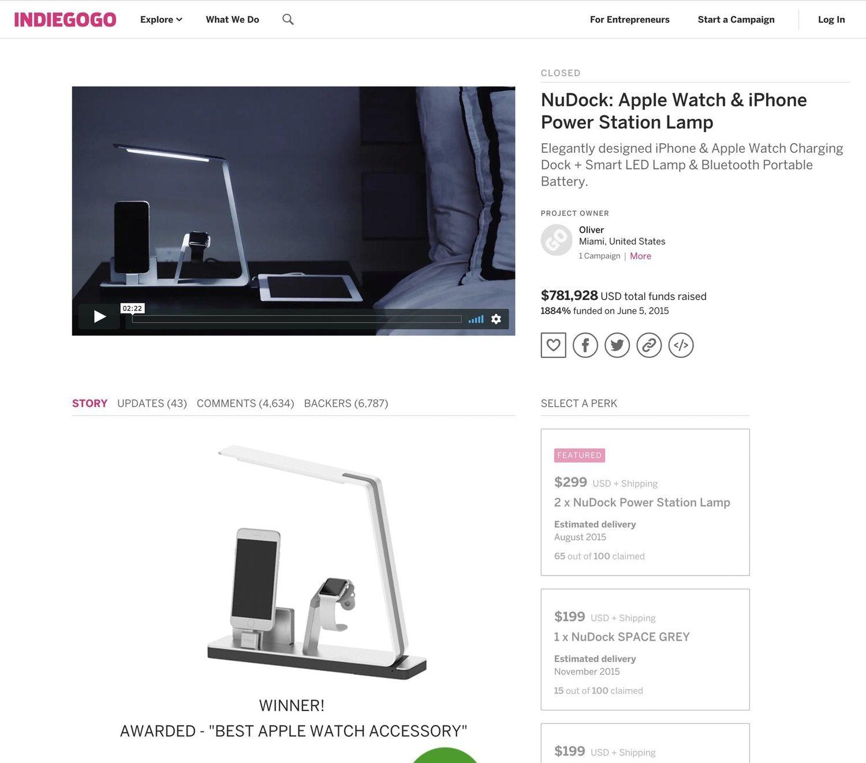 La página del NuDock en Indiegogo, que todavía continúa disponible.