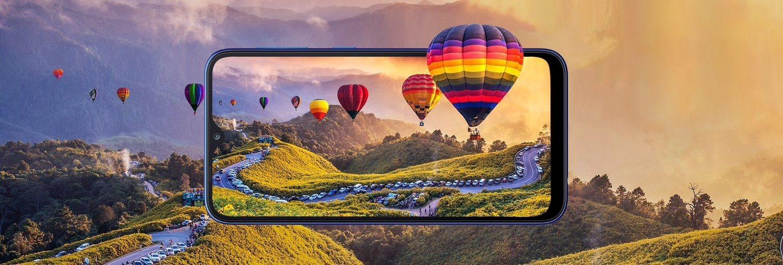 El Galaxy A10 tiene una pantalla Infinity V HD+ con 6,2 pulgadas, nada mal para un móvil a precio de saldo.