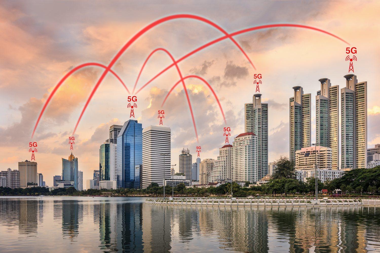 Ejemplo de distribución de antenas para distribuir la señal 5G entre los edificios