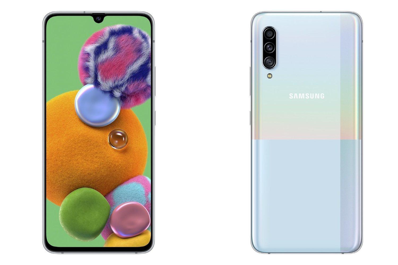 Samsung Galaxy A90 5G en azul variocolor.