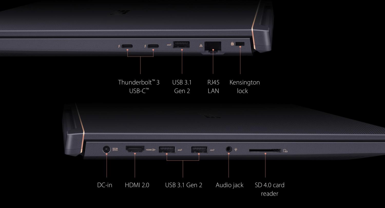 El ASUS ProArt StudioBook Pro X cuenta con un apartado de conectividad muy completo.
