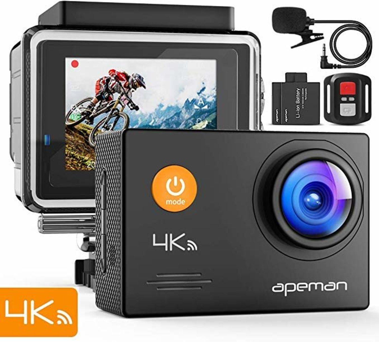 Cámara acuática y de acción APEMAN, con estabilización de imagen y grabación de video en 4K.