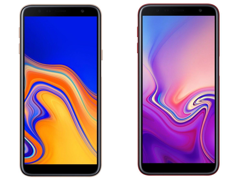 Los dos teléfonos presentados por Samsung. A la izquierda el modelo J4+ y a la derecha el modelo J6+