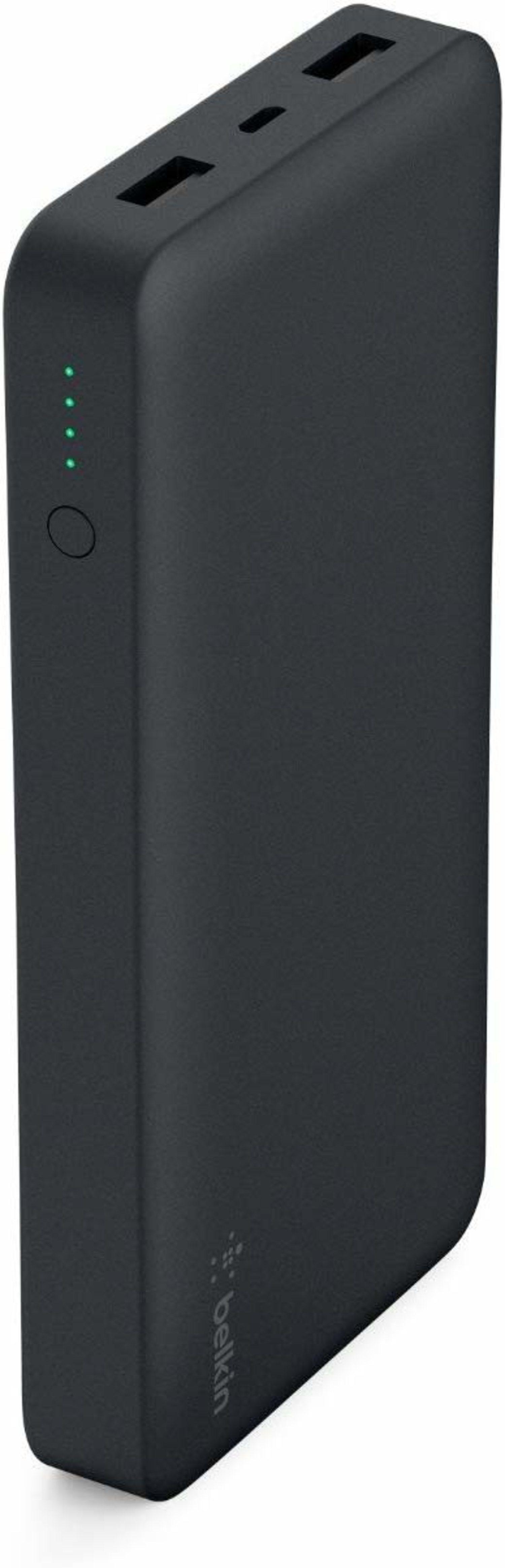 Powerbank Belkin Pocket, con doble puerto USB para conectar dos móviles al mismo tiempo.