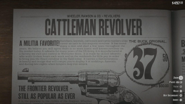 En la descripción del revolver Cattleman se puede leer un mensaje de explotación laboral.