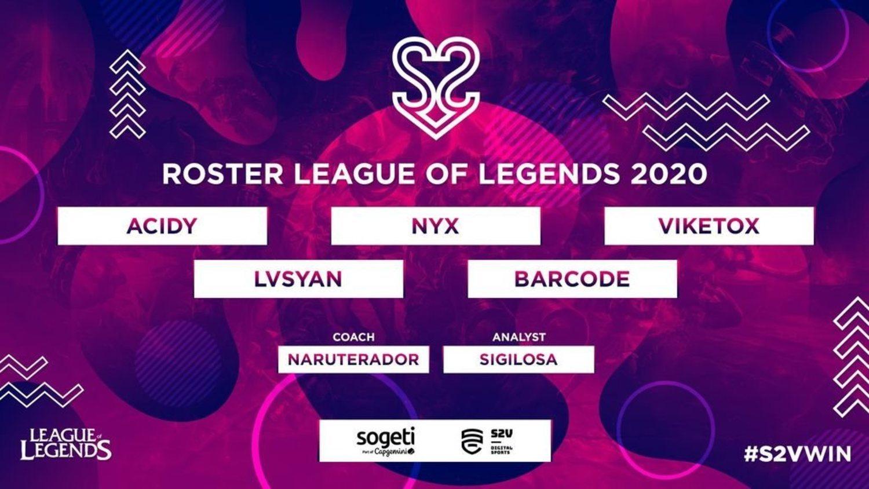 Este es el roster de S2V para la temporada 2020 de League of Legends.