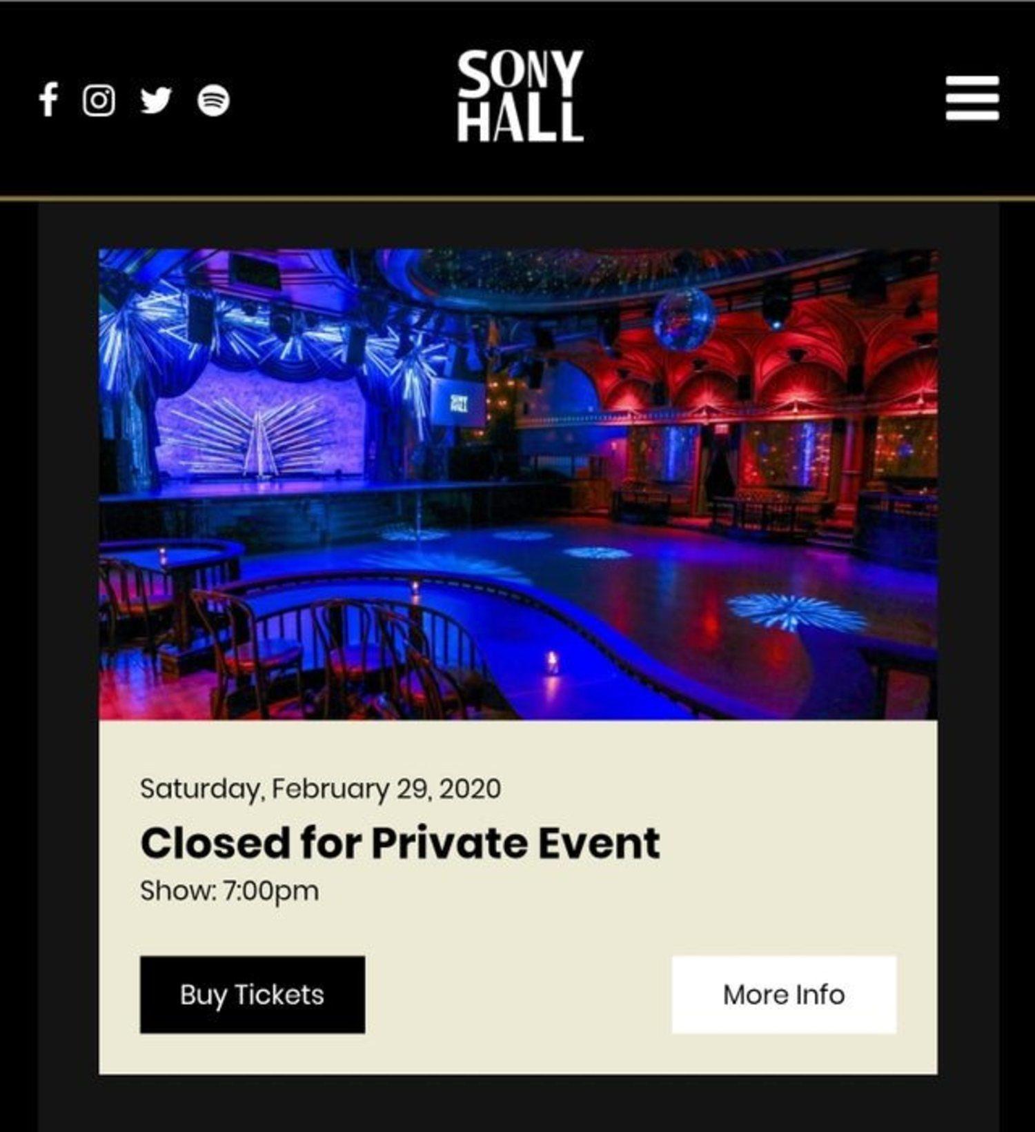 El Sony Hall de Nueva York perecerá cerrado el 29 de febrero por un evento privado, ¿casualidad?