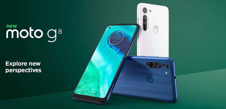 El Motorola Moto G8 se pondrá a la venta en dos colores: blanco y azul.
