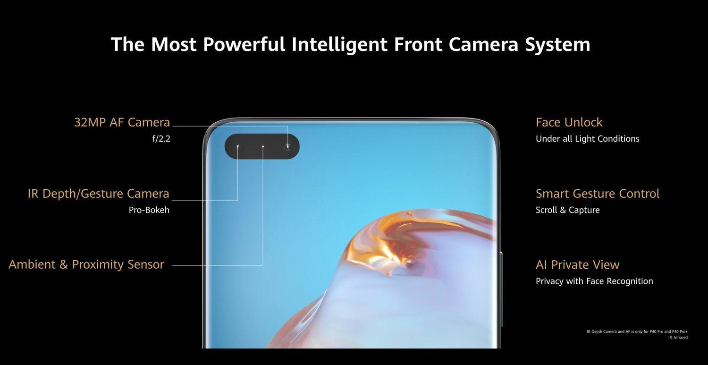 32 megapíxeles y un sensor infrarrojo es lo que esconde la cámara frontal situada en la pantalla.