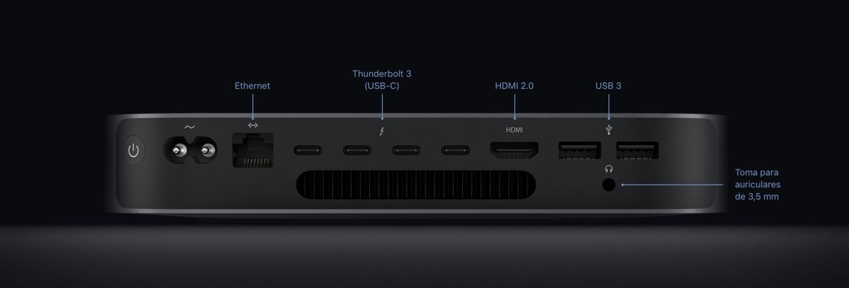 Todas las conexiones del Mac mini.